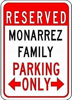 Fieanxi Metal Signs Monarrez Family Parking - Customized Last Name - 8X12 Tin Sign for Garage