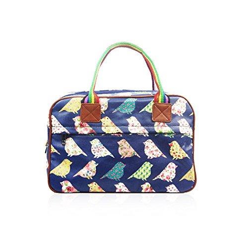 HB Style - Bolso de tela estilo vintage, diseño de flores y pájaros Azul azul marino M