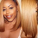 Maycaur Short Straight Human Hair Wigs With Bangs Brazilian Virgin Hair Short Bob Wigs 8-10Inch 150 Density