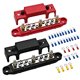 """Mofeez Bus Bar -3x1/4""""Post,10x#8 Screw Terminal Power Distribution Block with Ring Terminals(Pair - Red & Black)"""