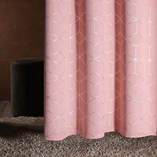 Deconovo Mörkläggande ogenomskinligt termiskt mönster gardiner öljetter 183 x 132 cm korallros set om 2