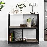 Yata Home Industriel estante - Estantería de almacenamiento con 2 niveles, estilo vintage, estructura metálica de hierro estable, para salón, oficina