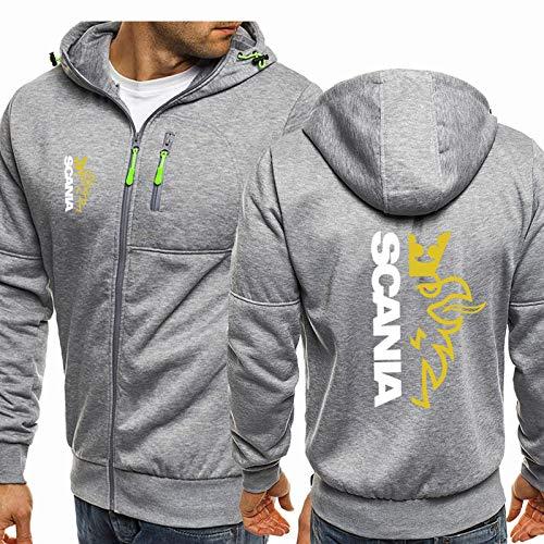Sudadera con capucha para hombre, chaquetas con cremallera completa, cárdigan de manga larga, unisex, moda informal, chaqueta con capucha estampada SCANIA, regalo para adolescentes Grey-3X-Large
