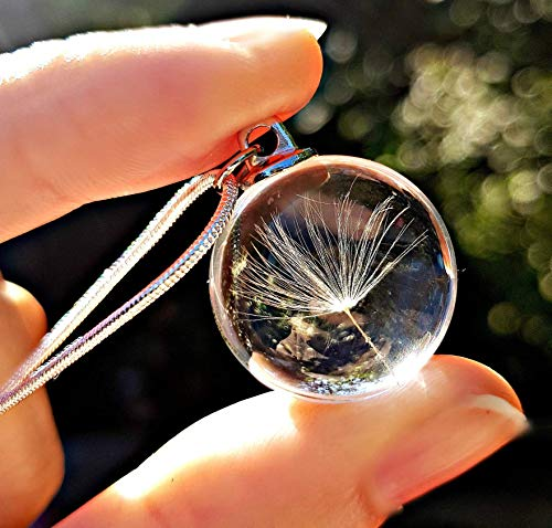 Sterling Silver Chain Dandelion Seed Necklace Birthday Gift pendant for...