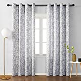 MYSKY HOME Moroccan Print Design Curtains Panels for Living Room Bedroom Window Draperies for Farmhouse Grommet Top (2 Panels, 52' x 95', Grey and White)