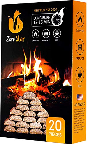 Fire starter squares - 40pc firestarters for fireplace and grills - Campfire   Grill   Wood stove   Charcoal starter cubes - NEW starters - Burn 12-15 min
