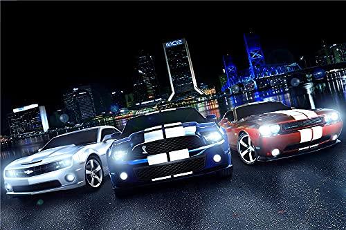 CFVHB 40x60cm -Pintar Por Numeros Adultos Niños Diy Pintura Por Números Con Pinceles Y Pinturas Regalo Festival -Deportes De Motor Mustang Shelby
