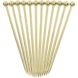 Cocktail Picks Stainless Steel Martini Skewer Reusable Ball Top,Gold (Set of 12)