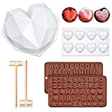 Diamond Heart Shape Silicone Cake Mold, 8 Cavities Silicone Heart Diamond Shaped Cake Mold Tray with 2 Wooden Hammers and 2 Chocolate Molds for Valentine Home Kitchen DIY Baking Tools
