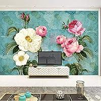 カスタム壁布ヨーロピアンスタイルの絵画バラの花の壁画の壁紙リビングルームの寝室の壁の装飾-250x170cm