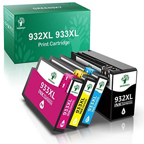 GREENSKY 932XL 933XL Cartuchos de Tinta de Repuesto compatibles para HP Officejet 6100 6600 6700 7110 7510 7610 7612 1 Negro 1 Cian 1 Magenta 1 Amarillo (Paquete de 4)