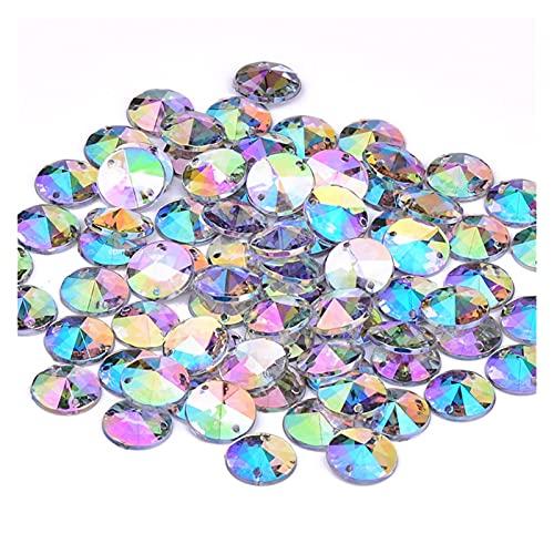BOSAIYA Sx 500pcs 10mm AB Cristal Coser en Rhinestones Redondos Beads Costura Acrílico Gems Crystal Stones Apliques para Vestido T118 (Color : Crystal AB)