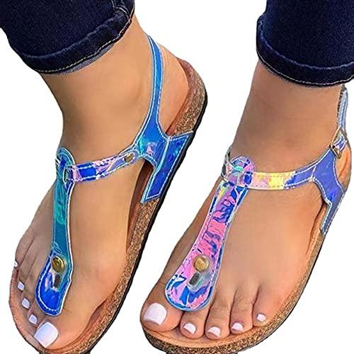 BLANSHAN Sandalias para mujer, suela suave, puntera abierta, color degradado y cómodo para la playa, viajes, verde festivo, azul, dorado