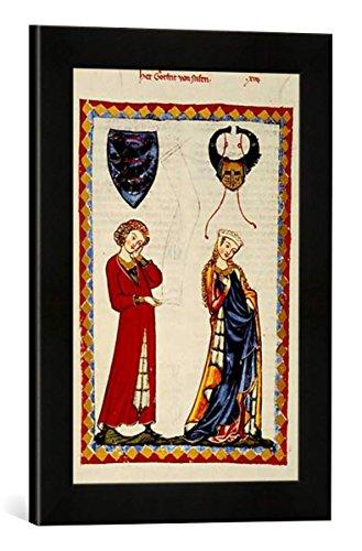 Gerahmtes Bild von Zürich Buchmalerei Gottfried von Neuffen/Codex Manesse, Kunstdruck im hochwertigen handgefertigten Bilder-Rahmen, 30x40 cm, Schwarz matt