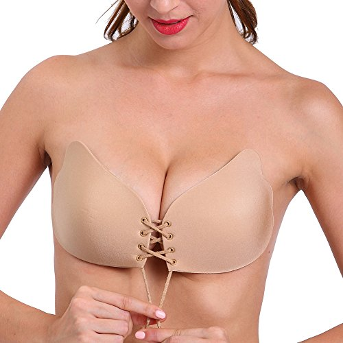 Aedo Strapless Bra for Women, Self Adhesive Invisible Pasties Sticky Push Up Backless Cleavage Cover (Nude, Cup B)