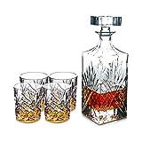 QWQ Decantadores, 5 PC/Sistema Hecho A Mano Jarra De Cristal De Whisky Vasos, Decorado con Adornado Tapón Y 4 Exquisito Cóctel Taza De Los Vidrios De Partido De La Barra Inicio,B