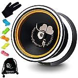 Magic Yoyo Professional Unresponsive Yoyo M001-B, Aluminum Alloy Bi Metal Yoyo Ball with Polish Ring, Great Pro Yoyo for Kids and Advanced, Extra 5 Yoyo String + Glove + Bag ( Black)