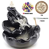 Ceramic Backflow Incense Holder Waterfall Incense Burner, Aromatherapy Ornament Home Decor with 30 Backflow Incense Cones