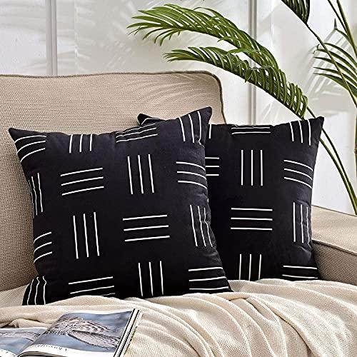 DWDC Juego de 2 fundas para cojines de terciopelo de 45 x 45 cm, cuadradas negras con franja blanca, estampadas, mezcla decorativa para cojines de color liso y suaves fundas para