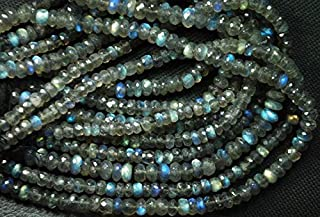 Jewel Beads Natural Beautiful jewellery 14 Inches Super Finest Natural BLUE FLASHY LABRADORITE Faceted Rondelles Size-5-6mm aprxCode:- JBB-40937