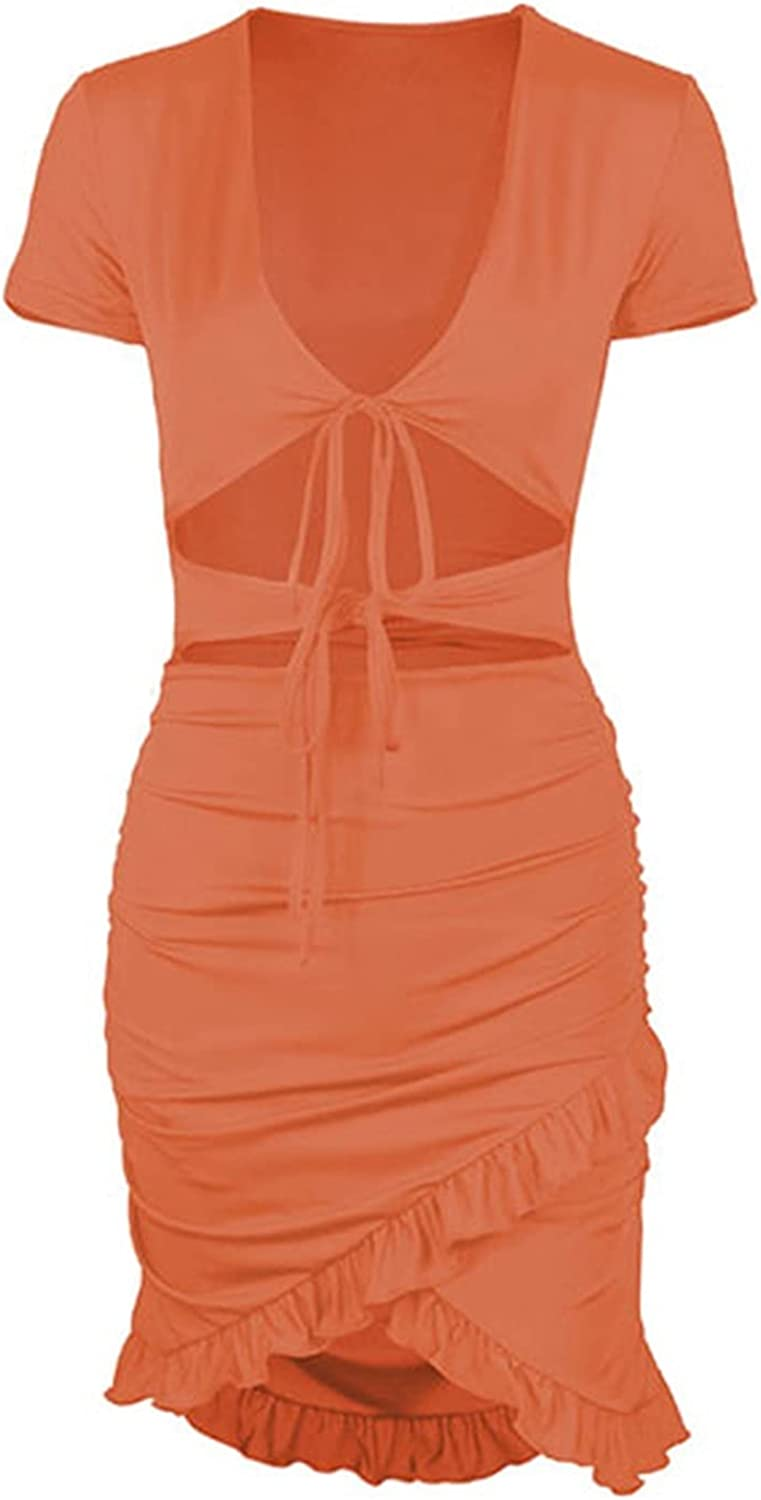 Women's V-neck Short Skirt, Wrapped Tight Skirt, Skin-friendly, Soft, Comfortable And Close-fitting, Refreshing And Breathable. Suitable For Prom Parties (Color : Orange, Size : Medium)