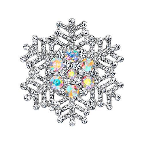 EVER FAITH Broche para mujer de cristal, diseño de copo de nieve, color plateado