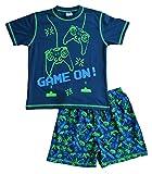 Pijama corto para niño Space Invader Game On Controller 7-16 años, color verde y azul marino Azul azul 13 años