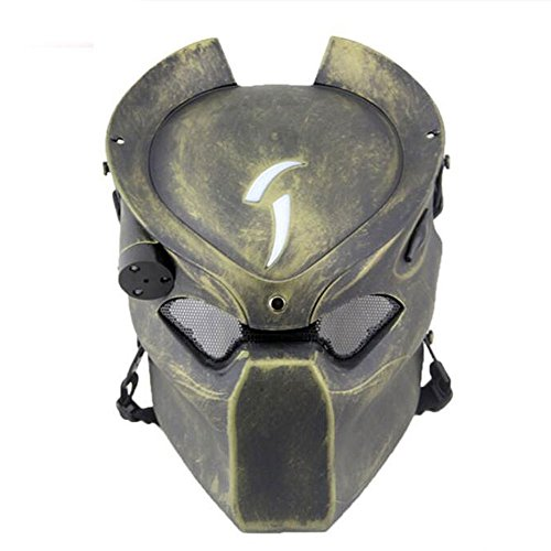 Worldshopping4U Táctico de Protección Paintball Airsoft Metal Malla y Predator CS Campo lámpara de Infrarrojos Full Face máscara BL