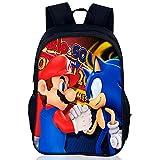 LIDBHR Sonic The Hedgehog Backpacks Mochilas Super Mario Mochila Nesloonp Escolar de Dibujos Animadospara Colegio Viajes, Regalos para Niñas y Adolescentes16 zoll
