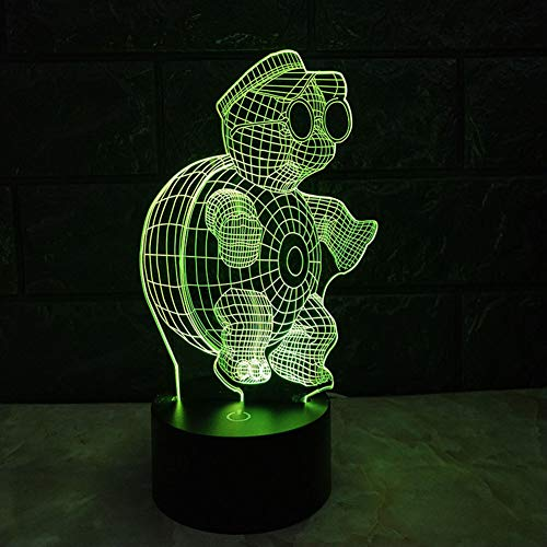 QJIAXING Lumière de Nuit Deux-Couleur Turtle Brother stéréo lumières colorées tactiles Lampe de Chevet Cadeau de Noël,Color