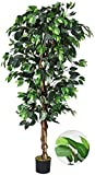 HAPPYGRILL 6FT Artificial Greenery Tree Fake Ficus Silk Tree Plants in Pot for Home Office