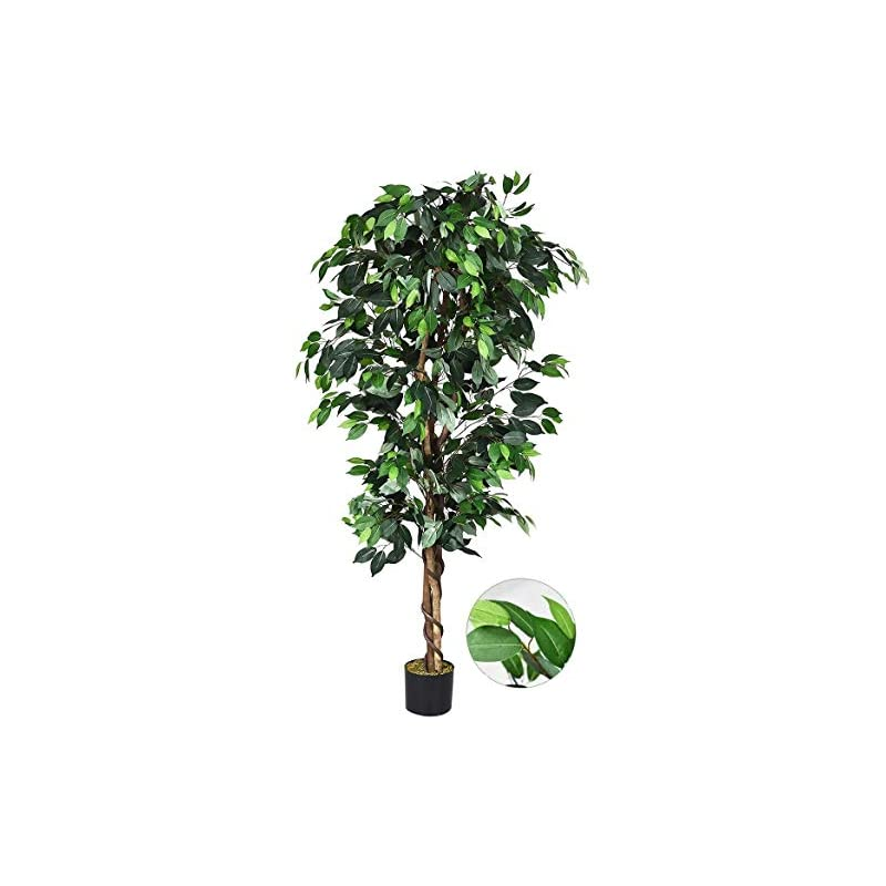 silk flower arrangements happygrill 6ft artificial greenery tree fake ficus silk tree plants in pot for home office