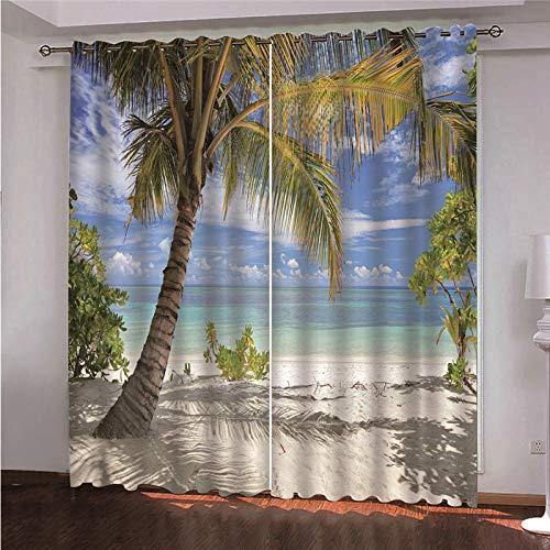 JFAFJ Home Pack 2 Cortinas con Visillo Palmera y mar Paneles de la Cortina de para Cocina Modelo Vino para el Dormitorio 70x260 cm x 2 Panel
