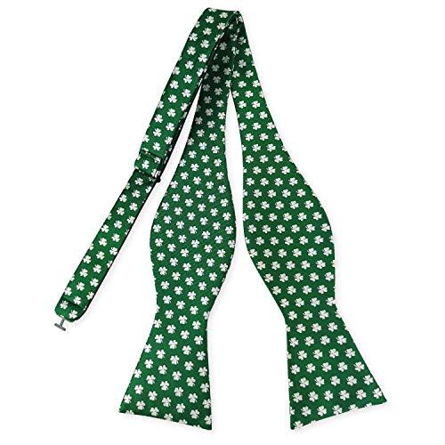 Men's Bow Tie Shamrock Pattern Solid Green Navy Bowtie Self Tie for Festival