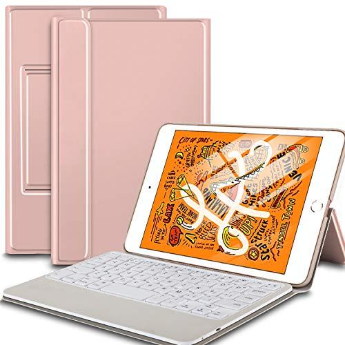 IVSO Keyboard Case for iPad Mini 5 / Mini 4 - Ultra Lightweight Folio Flip Smart Auto Sleep/Wake Cover Case with Wireless Keyboard for iPad Mini 5th Gen 2019 / iPad Mini 4 2015 Tablets, Rosegold