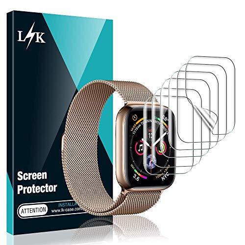 [6 Stücke] L K Schutzfolie Displayschutzfolie für Apple Watch Series 6/5/4/SE 44mm, [Blasenfreie] [Kompatibel mit Hülle] HD klar Flexible TPU Displayschutzfolie