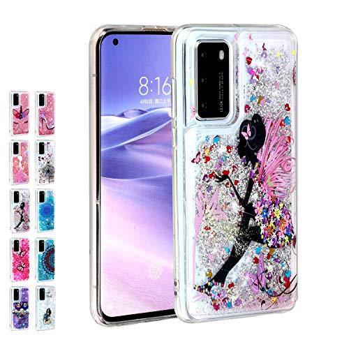 Rose-Otter Compatible pour Housse Coque Samsung Galaxy A71 Etui Liquide Paillette Brillante Silicone TPU Gel Bumper Cover Transparente avec Motif Fille Papillon Fleur