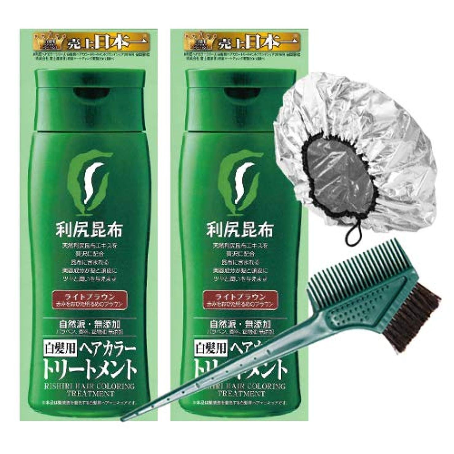 必要条件六分儀電極利尻ヘアカラートリートメント白髪染め 200g×2本(ライトブラウン)&馬毛100%毛染めブラシ&専用キャップセット