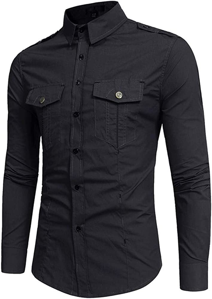 MODOQO Men's Long Sleeve Casual Button Down Shirt Slim Fit Stylish Dress Shirts with Pocket