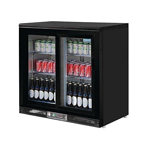 Frigo à bar / Arrière-bar portes coulissantes 182 bouteilles Polar Noir. 2 portes coulissantes.
