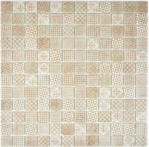 Retro Vintage Mosaik Fliese ECO Recycling GLAS ECO beige patchwork MOS145-P-50