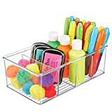 mDesign Plastic Craft & Sewing Storage Organizer Bin Box - 4 Divided Sections - Holder for Holds Paint, Colored Pencils, Glitter, Stickers, Glue, Yarn - Clear