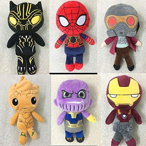 HomeDecor Plüschspielzeug 6 Stücke/Satz Infinity War Eisen Man/Spiderman/Thanos/Schwarz Panther/Groot Plüschspielzeug Action Figure Weiche Gefüllte Puppen für Kinder Geschenke Manmiao