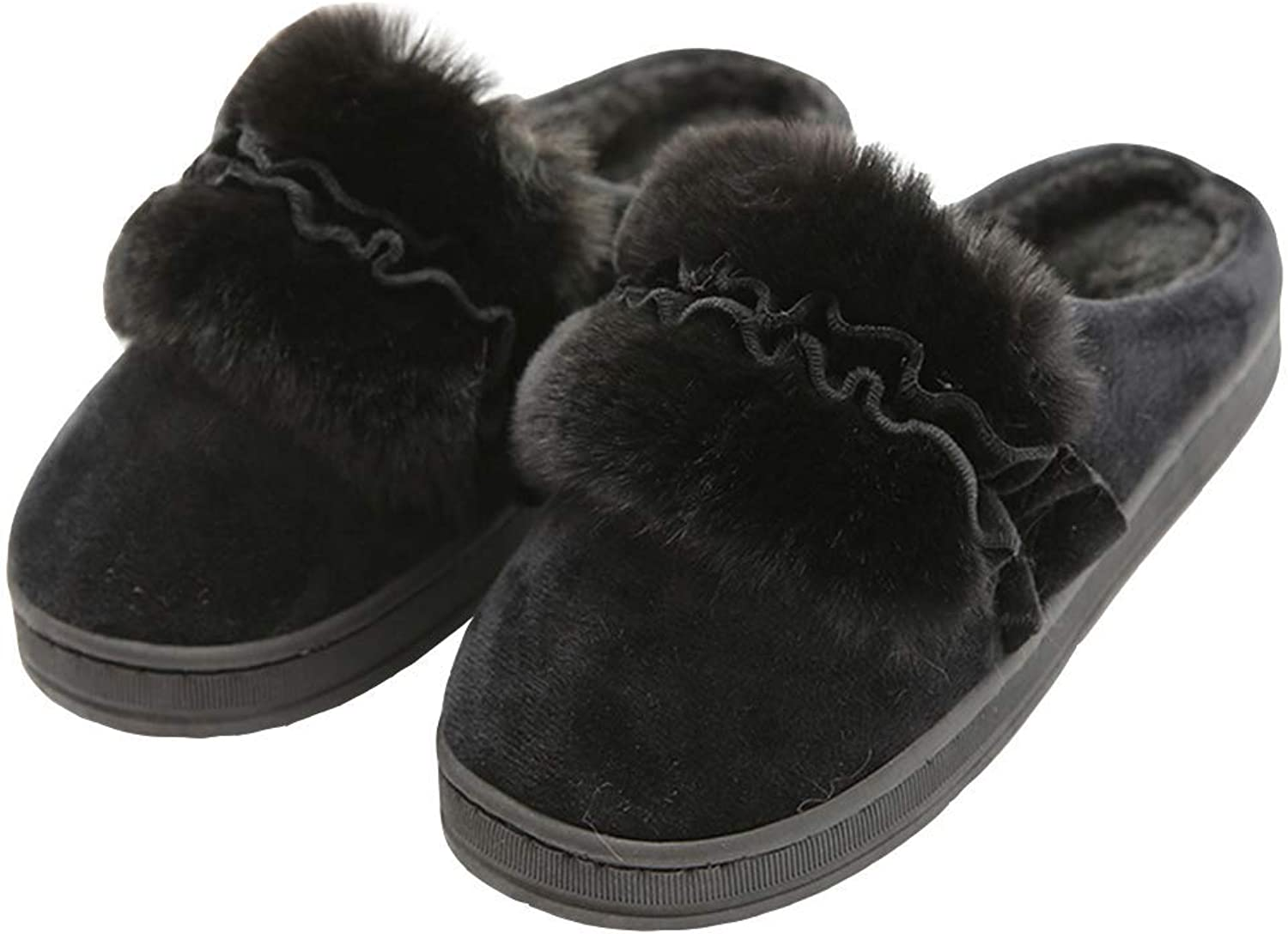 Winter Women Slippers Solid color Casual Cotton Warm Home Anti-Slip Flat Plush Indoor shoes(Can Be Worn Outside)