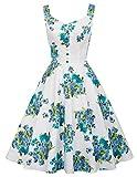 Belle Poque BP416 - Vestido para mujer, estilo años 50, clásico, retro, rockabilly, con tirantes, de flores, para fiestas y playa Bp416-1. S