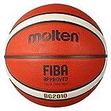 Molten BG2010 Baloncesto, Interior/Exterior, Aprobado por Fiba, Caucho Premium, Canal Profundo, tamaño 6, Naranja/Marfil, Adecuado para niños de 12, 13, 14 años y niñas de 14 años y Adultos