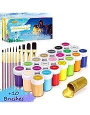 Set di Colori Acrilici per Dipingere, Gifort Set Pittura Acrilica Da 21 X 20 ML con 10 Pennellin, Non Tossico & Colori Brillanti, Sicuro per Bambini, per Carta, Roccia, Legno, Ceramica