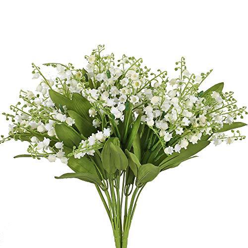 XHXSTORE 3pcs Flores Artificiales Exterior Interior Flor Artificial Blanca Flores de Plastico con Hojas Verde Arbusto Artificial Decoracion para Boda Fiesta Patio Jardinera Balcon Terraza Maceta