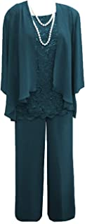 Women's 3 Pieces Lace Mother Of Bride Dress Pant Suits With Jacket For Wedding Groom