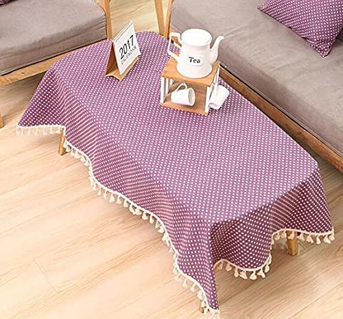 Mantel de Tela de algodón y Lino, pequeña Mesa Redonda Fresca y café, hogar, Rectangular, Cubierta de Mesa de jardín R 140x180cm